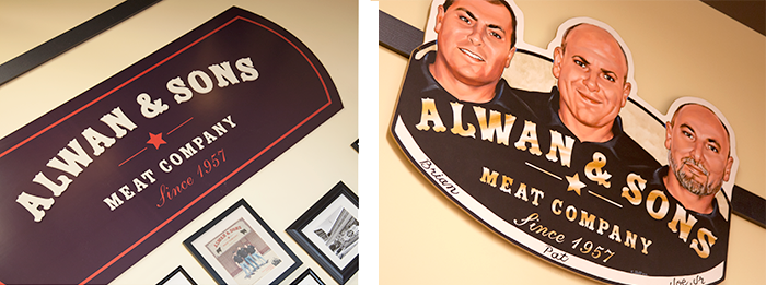 Interior logo and identity materials at Alwan and Sons location
