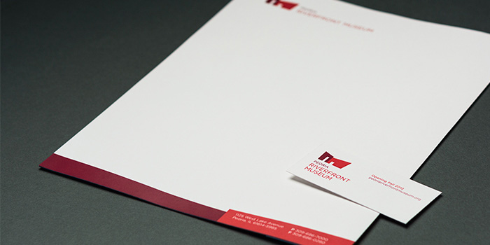 Peoria Riverfront Museum business card and letterhead